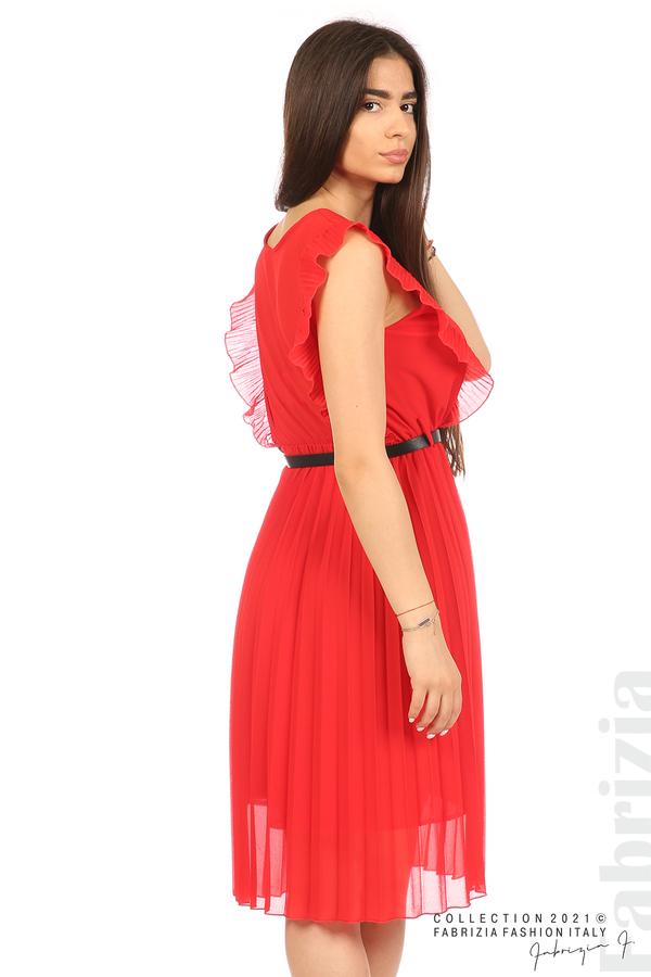 Едноцветна рокля солей с колан червен 1 fabrizia