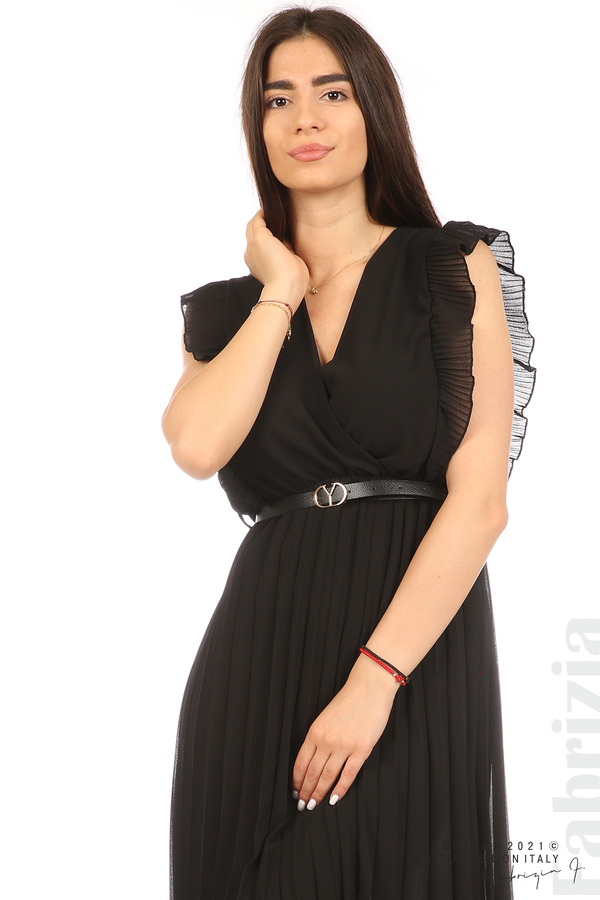 Едноцветна рокля солей с колан черен 1 fabrizia