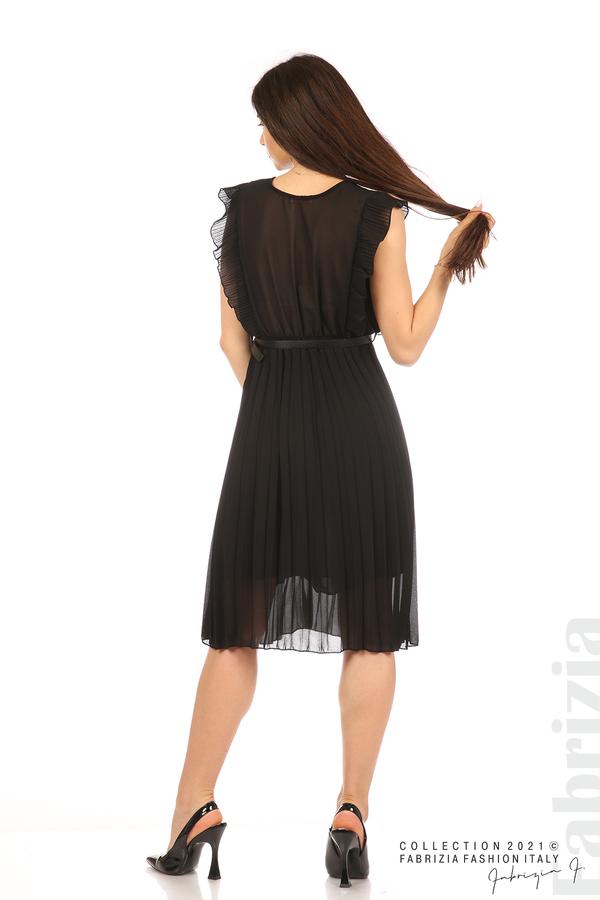 Едноцветна рокля солей с колан черен 6 fabrizia