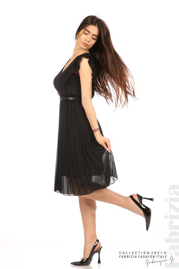 Едноцветна рокля солей с колан черен 3 fabrizia