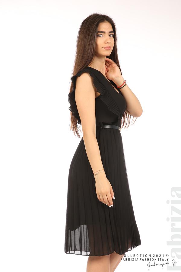 Едноцветна рокля солей с колан черен 4 fabrizia