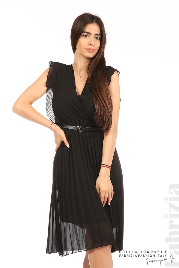 Едноцветна рокля солей с колан черен 5 fabrizia