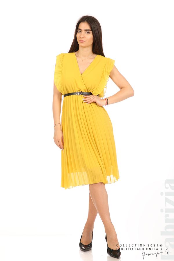 Едноцветна рокля солей с колан жълт 1 fabrizia