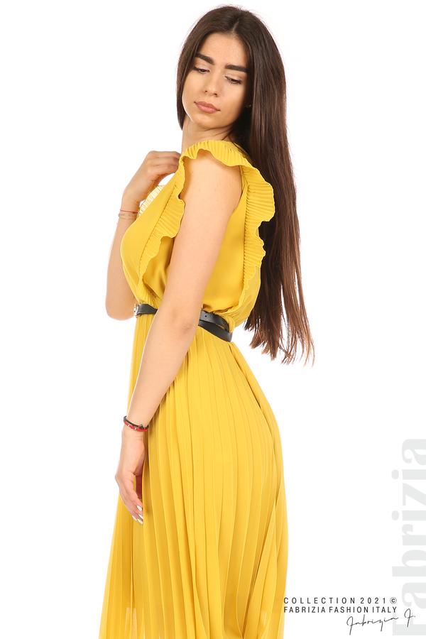 Едноцветна рокля солей с колан жълт 2 fabrizia