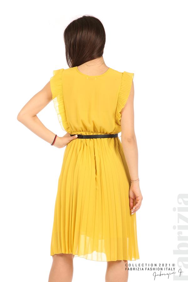 Едноцветна рокля солей с колан жълт 6 fabrizia