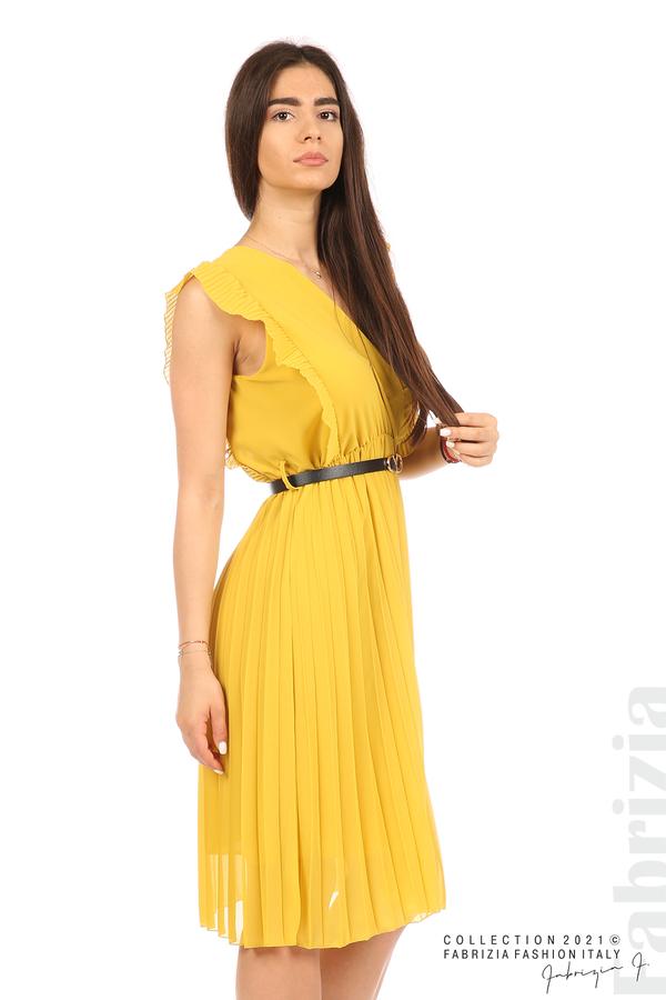 Едноцветна рокля солей с колан жълт 4 fabrizia