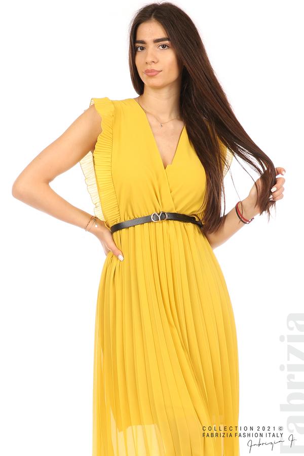 Едноцветна рокля солей с колан жълт 3 fabrizia
