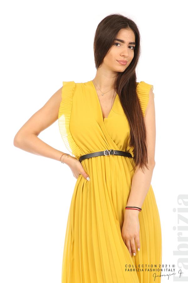 Едноцветна рокля солей с колан жълт 5 fabrizia