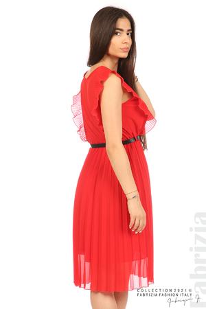 Едноцветна рокля солей с колан