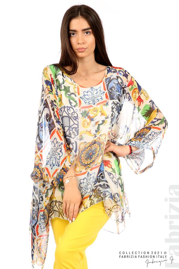 Ефирна блуза лимони бял 5 fabrizia