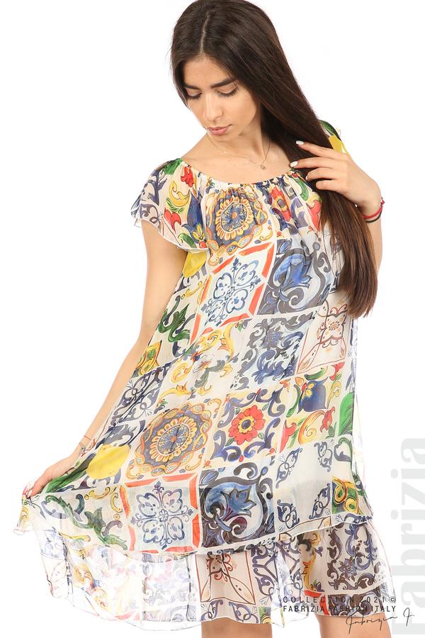 Фигурална рокля волан бял 1 fabrizia