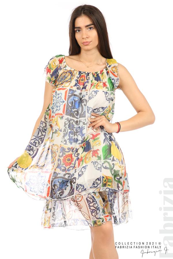 Фигурална рокля волан бял 4 fabrizia