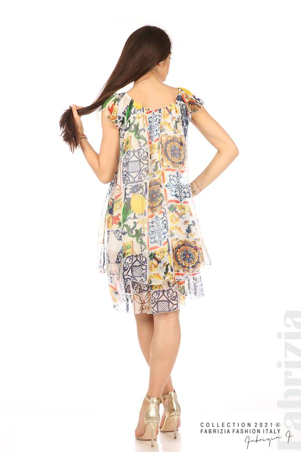 Фигурална рокля волан бял 6 fabrizia