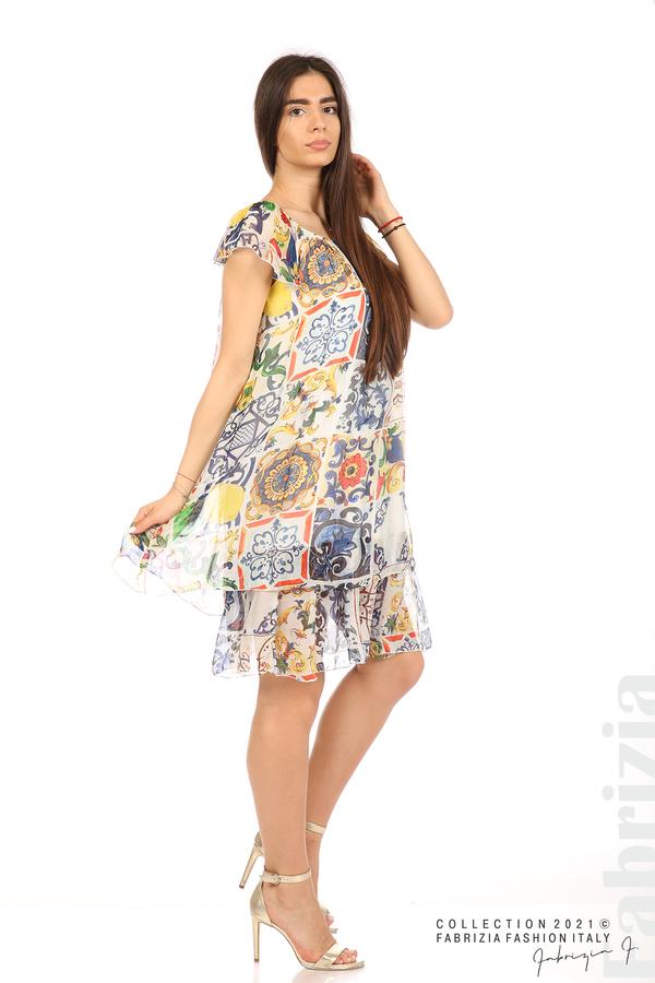 Фигурална рокля волан бял 3 fabrizia