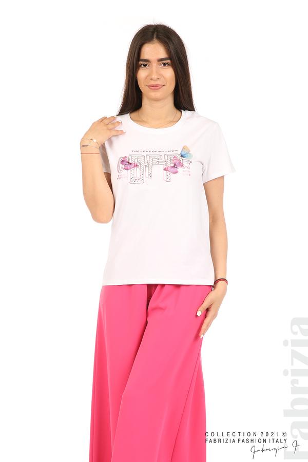 Блуза с надпис и пеперуди бял 3 fabrizia