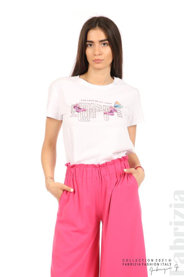 Блуза с надпис и пеперуди бял 1 fabrizia