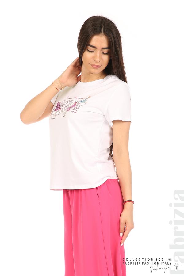 Блуза с надпис и пеперуди бял 4 fabrizia