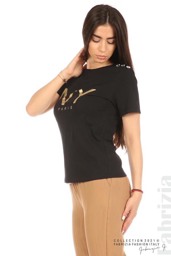 Блуза с надпис и декоративни копчета черен 4 fabrizia