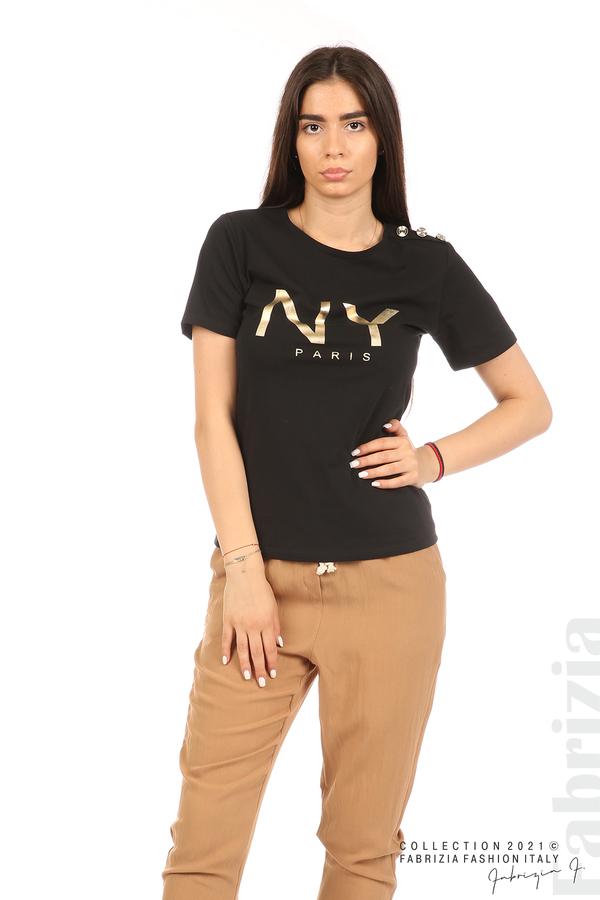 Блуза с надпис и декоративни копчета черен 6 fabrizia