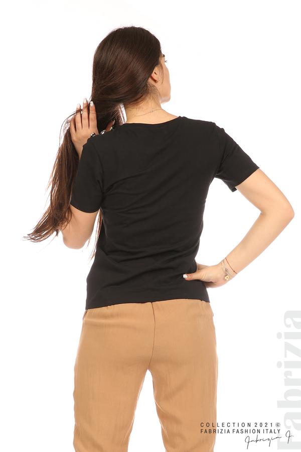 Блуза с надпис и декоративни копчета черен 7 fabrizia