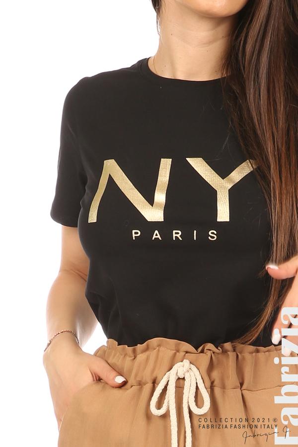 Блуза с надпис и декоративни копчета черен 1 fabrizia