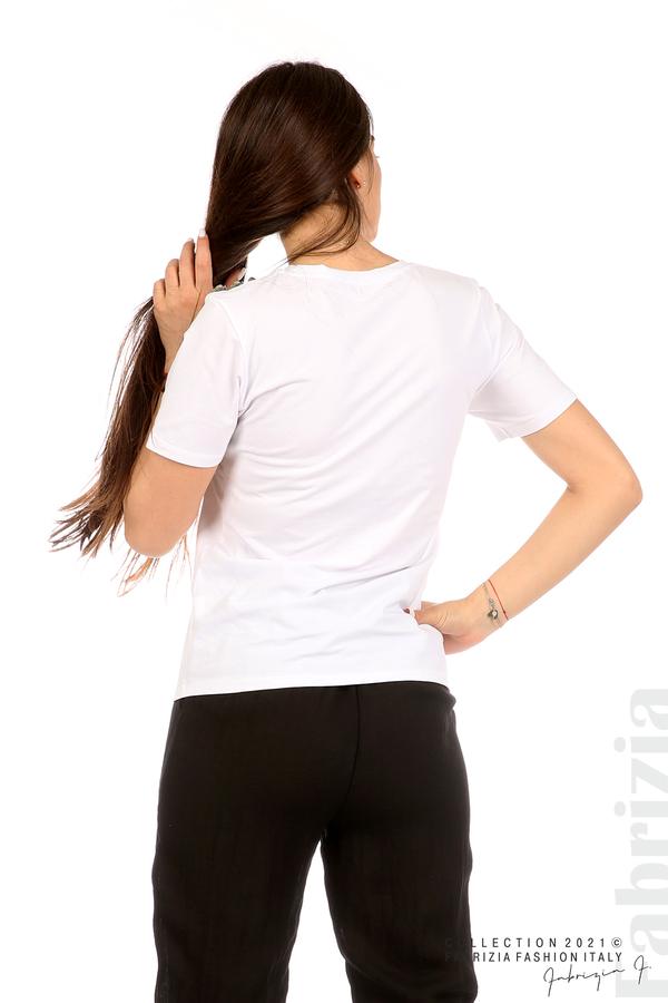 Блуза с надпис и декоративни копчета бял 6 fabrizia