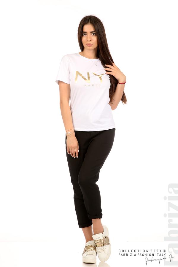 Блуза с надпис и декоративни копчета бял 3 fabrizia
