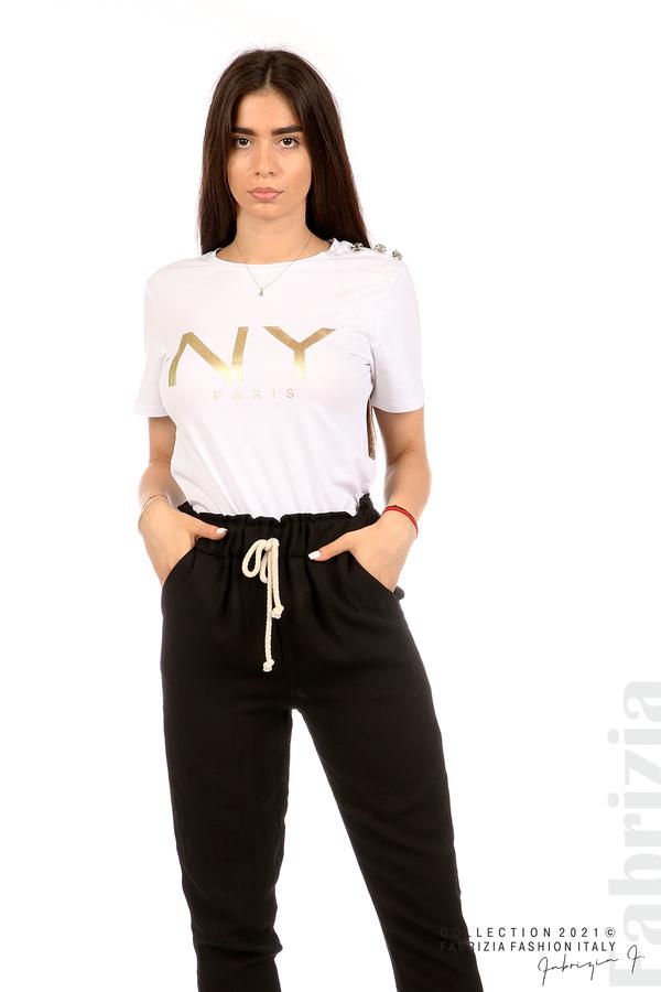Блуза с надпис и декоративни копчета бял 1 fabrizia