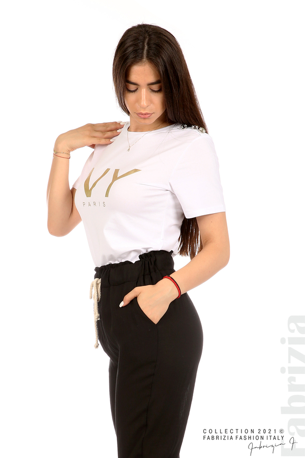 Блуза с надпис и декоративни копчета бял 4 fabrizia