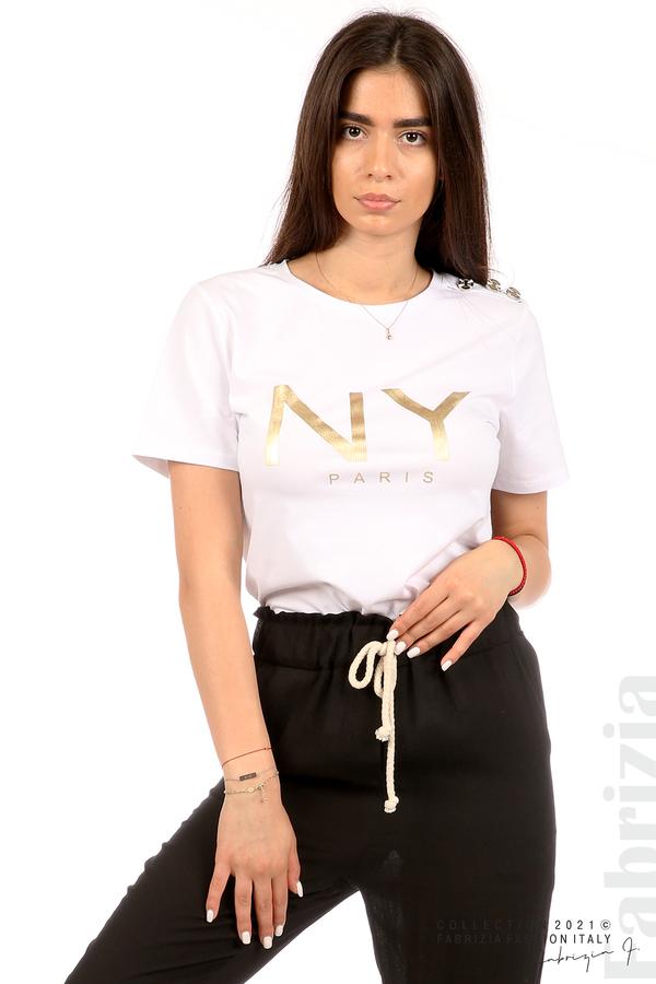 Блуза с надпис и декоративни копчета бял 5 fabrizia