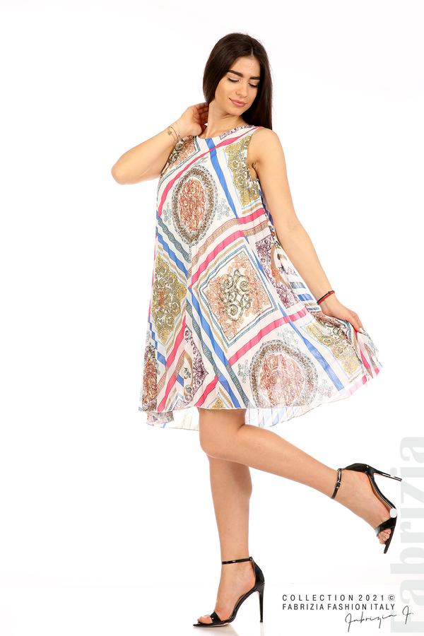 Многоцветна фигурална рокля солей бял 3 fabrizia