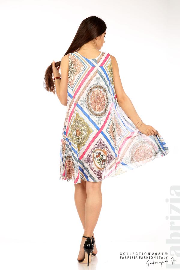 Многоцветна фигурална рокля солей бял 6 fabrizia