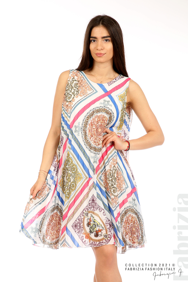 Многоцветна фигурална рокля солей бял 1 fabrizia