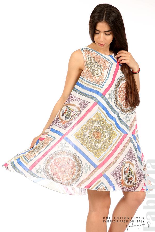 Многоцветна фигурална рокля солей бял 4 fabrizia