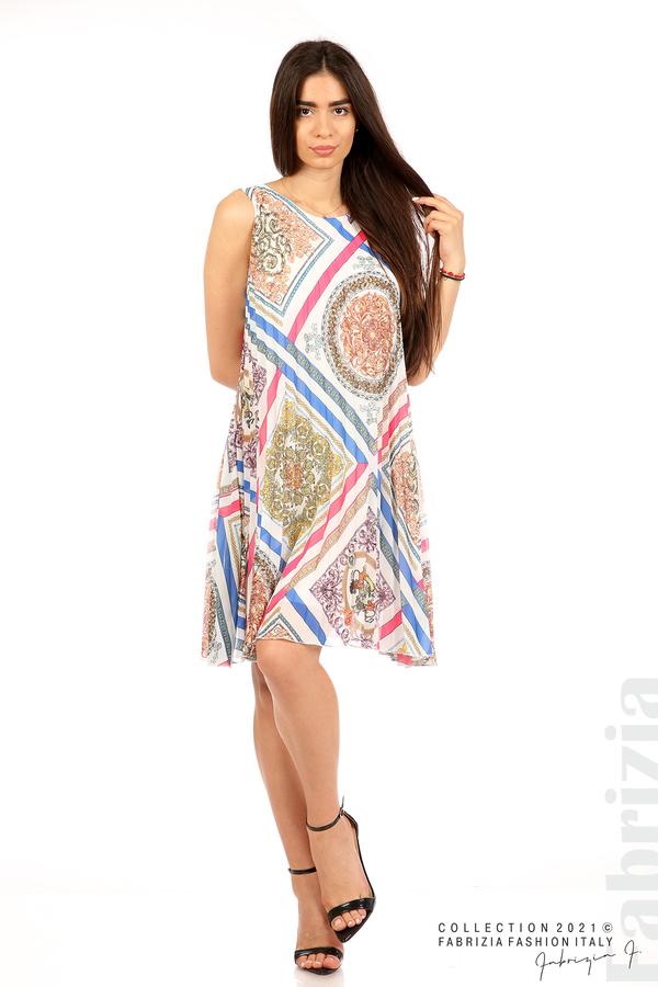 Многоцветна фигурална рокля солей бял 5 fabrizia