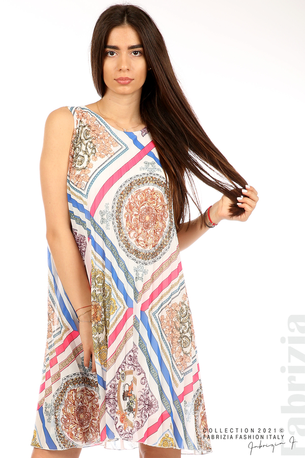 Многоцветна фигурална рокля солей бял 2 fabrizia