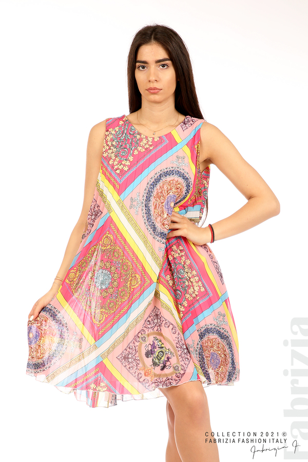 Многоцветна фигурална рокля солей розов/циклама 1 fabrizia