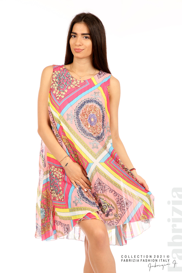 Многоцветна фигурална рокля солей розов/циклама 2 fabrizia