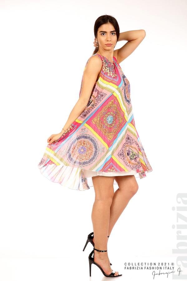 Многоцветна фигурална рокля солей розов/циклама 4 fabrizia