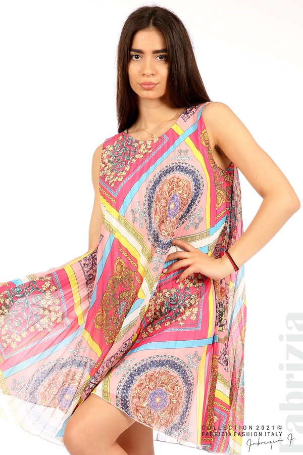 Многоцветна фигурална рокля солей розов/циклама 1 fabriziaМногоцветна фигурална рокля солей розов/циклама 3 fabrizia