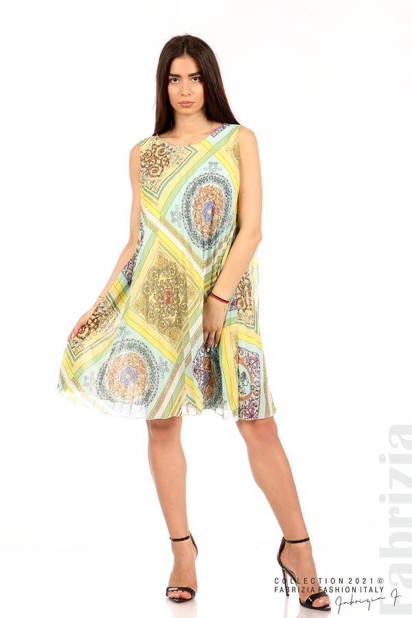 Многоцветна фигурална рокля солей мента/жълт 1 fabrizia