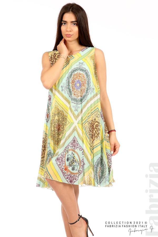 Многоцветна фигурална рокля солей мента/жълт 3 fabrizia