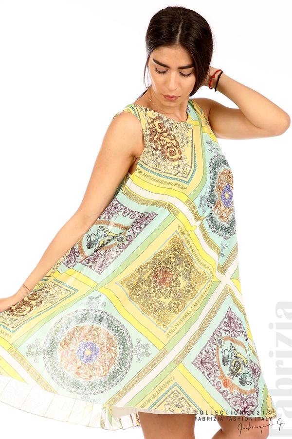 Многоцветна фигурална рокля солей мента/жълт 2 fabrizia