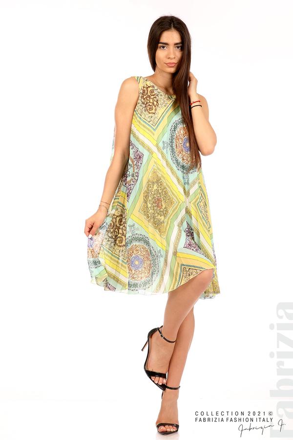 Многоцветна фигурална рокля солей мента/жълт 4 fabrizia