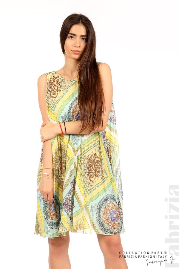 Многоцветна фигурална рокля солей мента/жълт 5 fabrizia