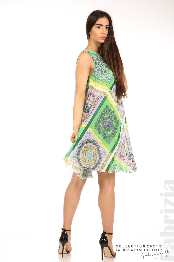 Многоцветна фигурална рокля солей зелен/лилав 5 fabrizia