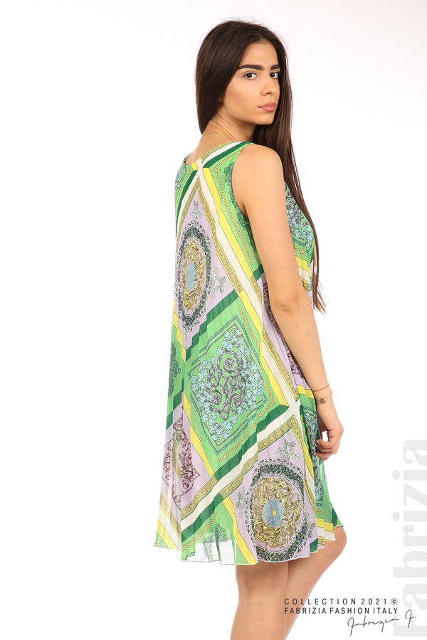 Многоцветна фигурална рокля солей зелен/лилав 6 fabrizia