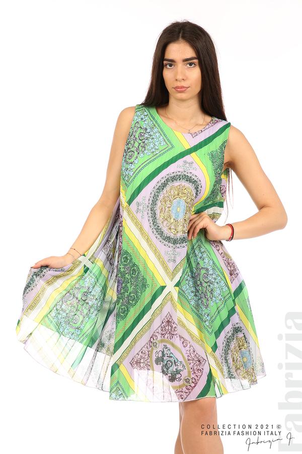 Многоцветна фигурална рокля солей зелен/лилав 1 fabrizia
