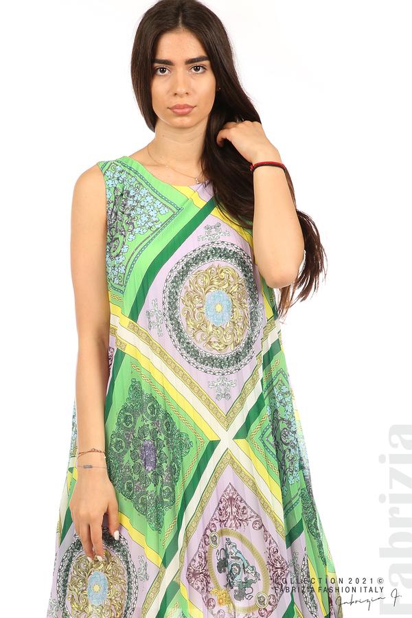 Многоцветна фигурална рокля солей зелен/лилав 4 fabrizia