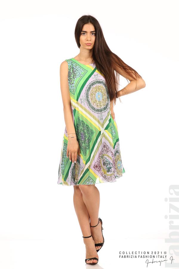 Многоцветна фигурална рокля солей зелен/лилав 3 fabrizia